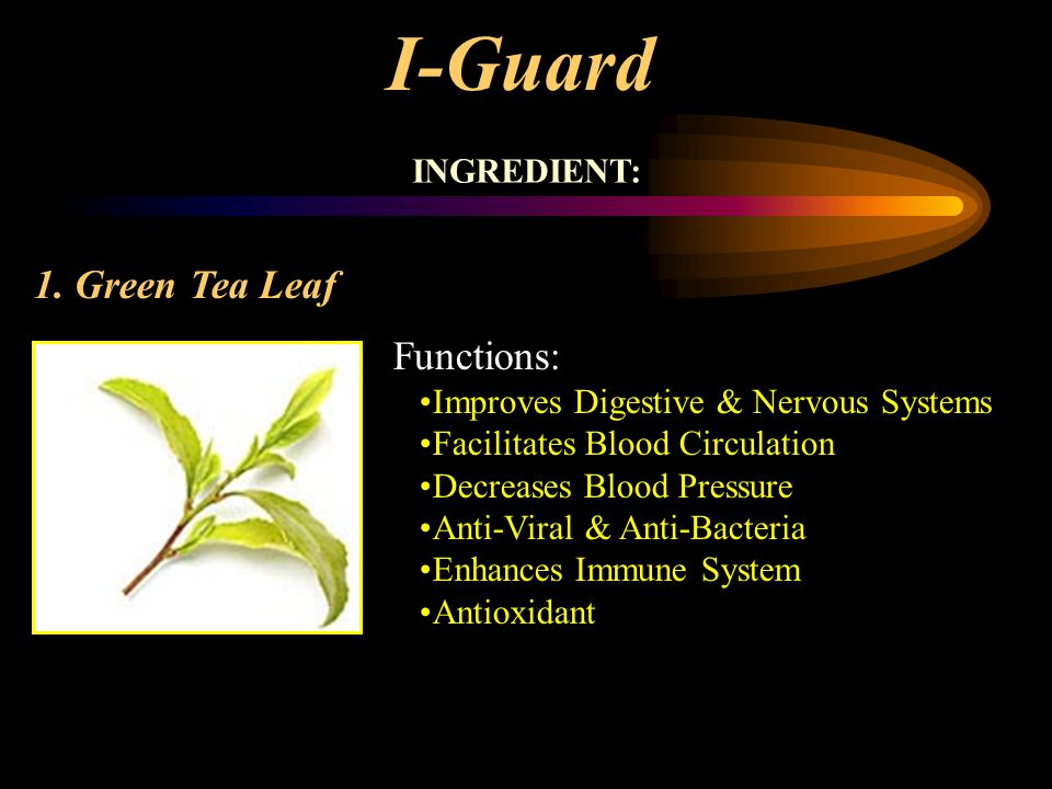 I-Guard 1. Green Tea Leaf Functions: INGREDIENT: