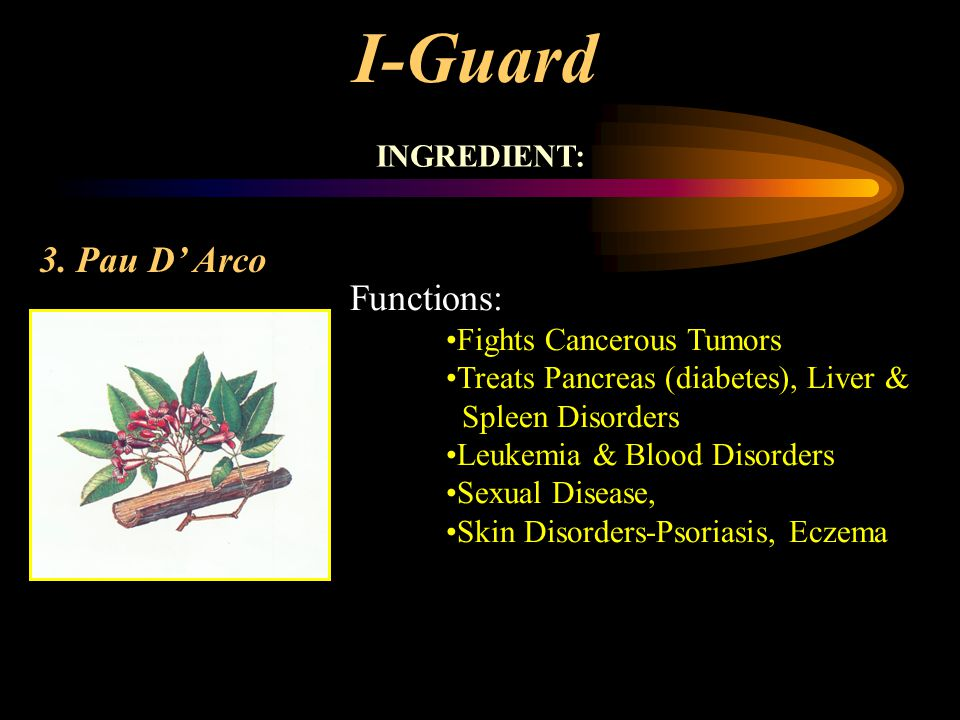 I-Guard 3. Pau D' Arco Functions: INGREDIENT: Fights Cancerous Tumors
