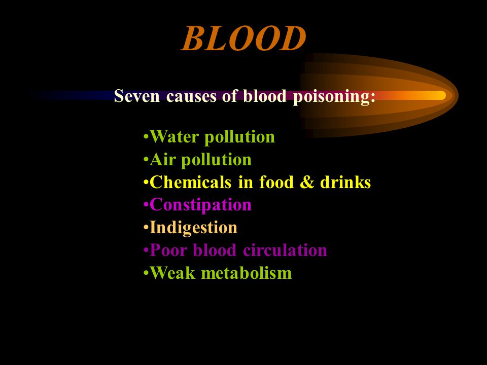 BLOOD Seven causes of blood poisoning: Water pollution Air pollution