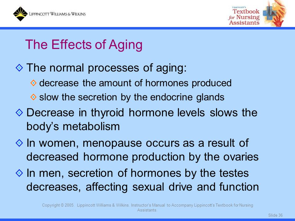 The Effects of Aging The normal processes of aging: