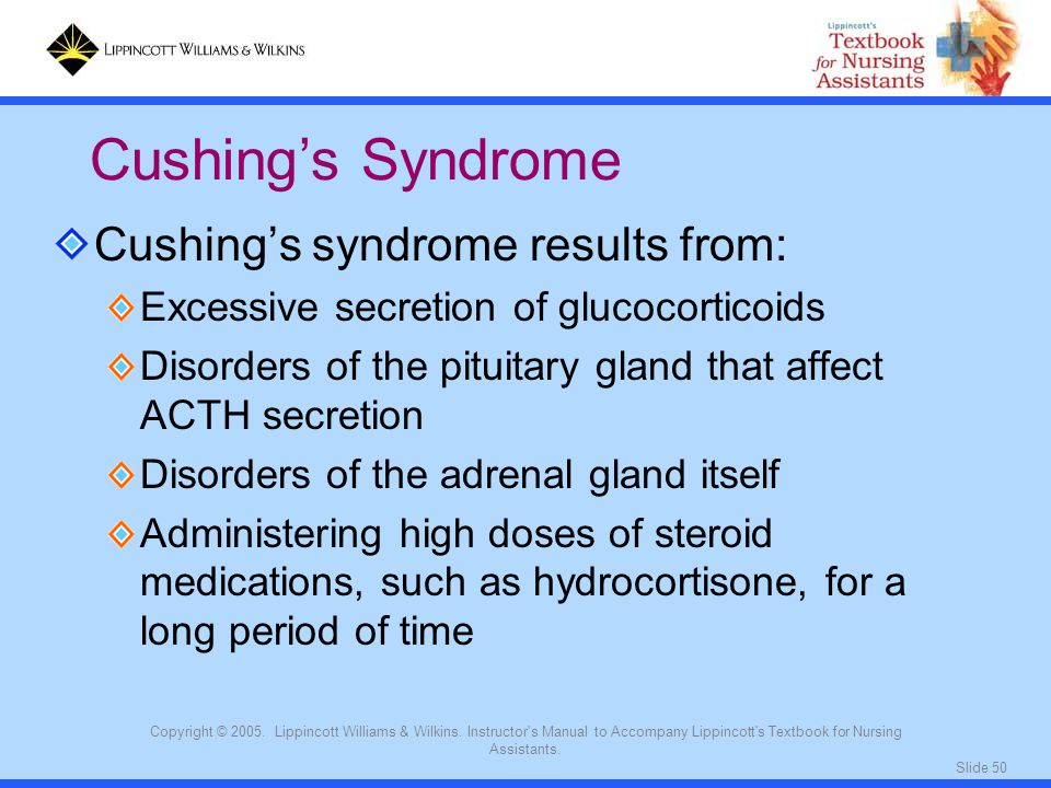 Cushing's Syndrome Cushing's syndrome results from: