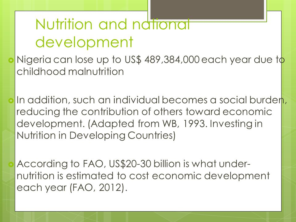 Nutrition and national development