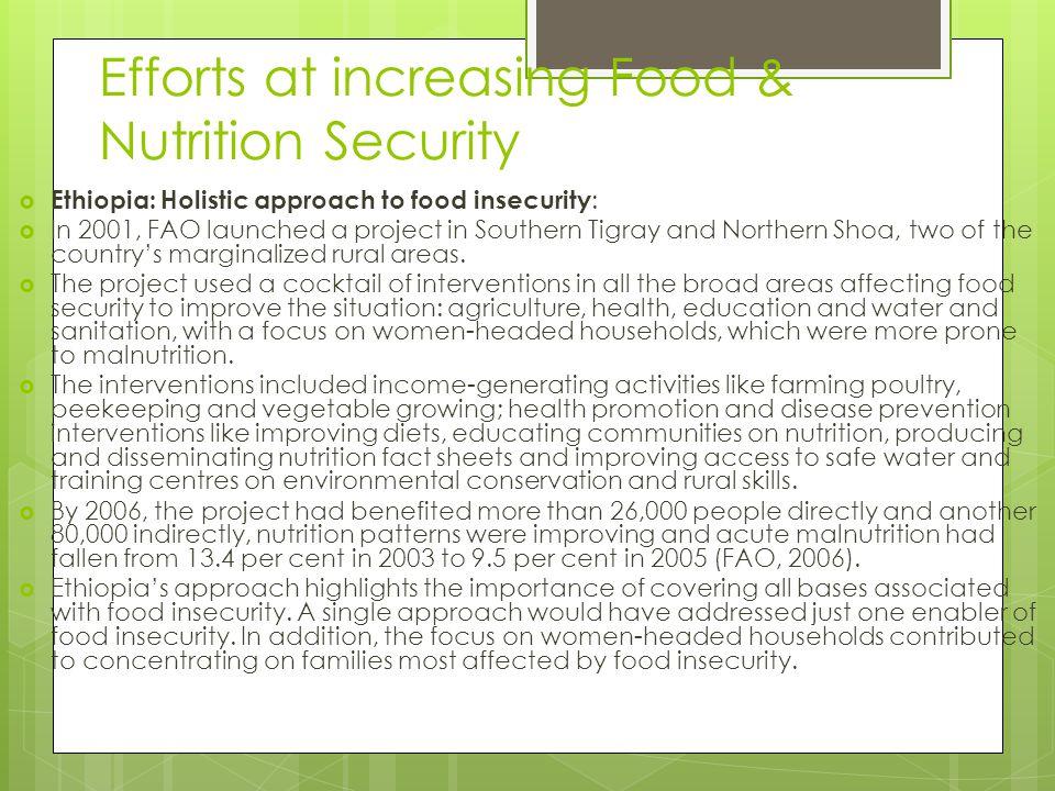 Efforts at increasing Food & Nutrition Security