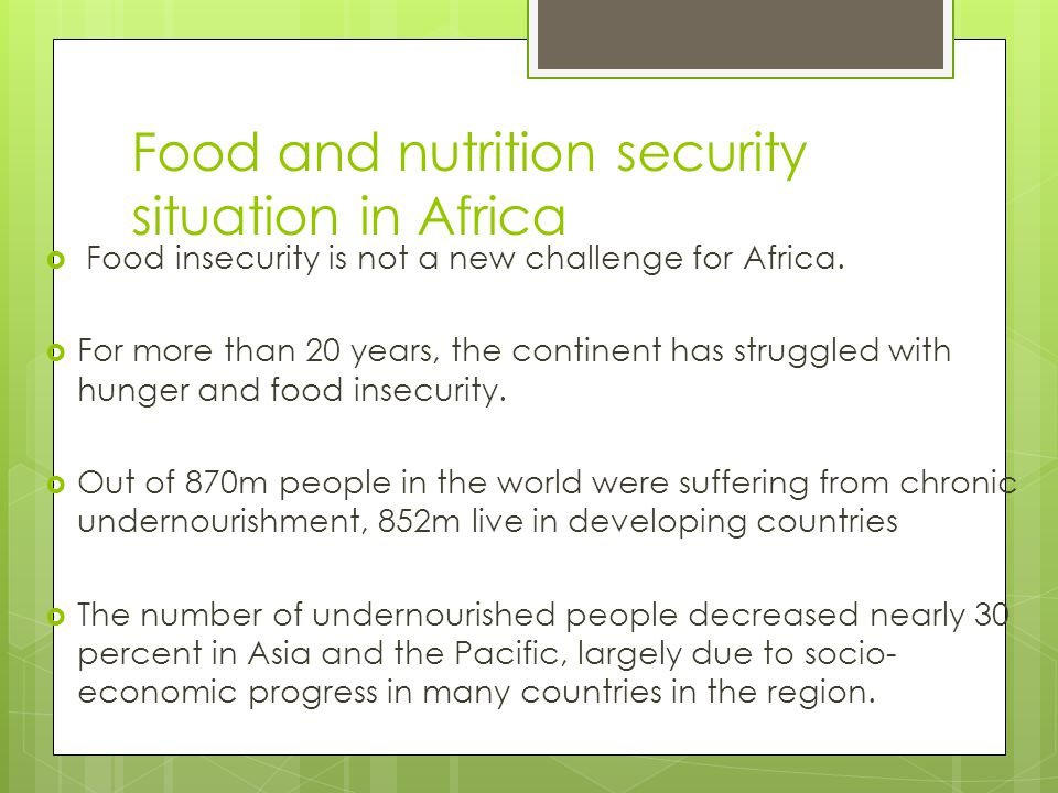Food and nutrition security situation in Africa