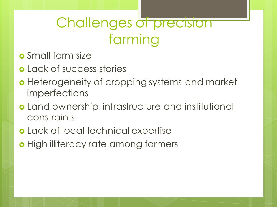 Challenges of precision farming