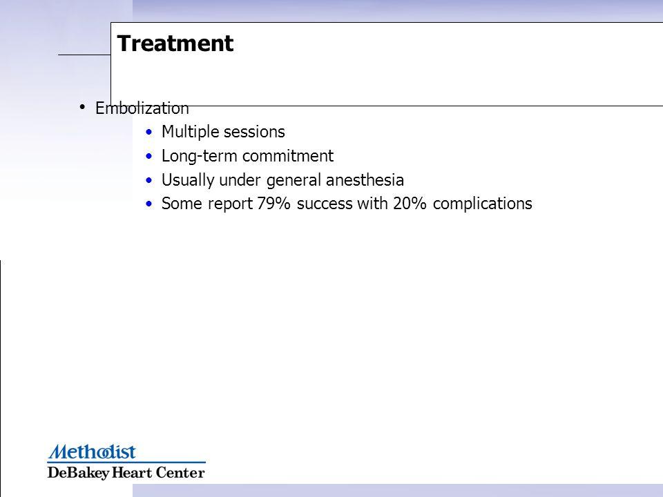 Treatment Embolization Multiple sessions Long-term commitment
