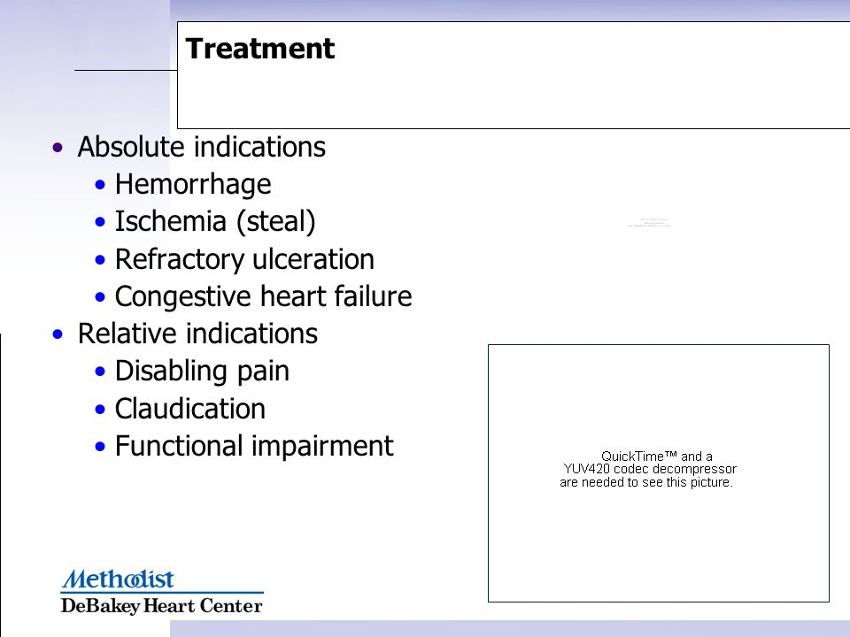 Treatment Absolute indications. Hemorrhage. Ischemia (steal) Refractory ulceration. Congestive heart failure.