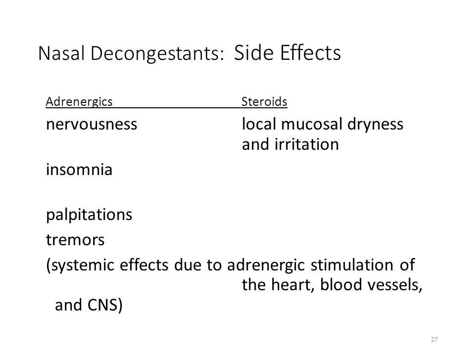 Nasal Decongestants: Side Effects