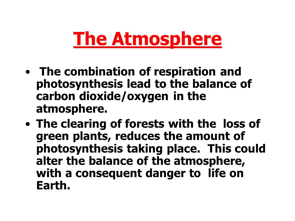 The Atmosphere The combination of respiration and photosynthesis lead to the balance of carbon dioxide/oxygen in the atmosphere.