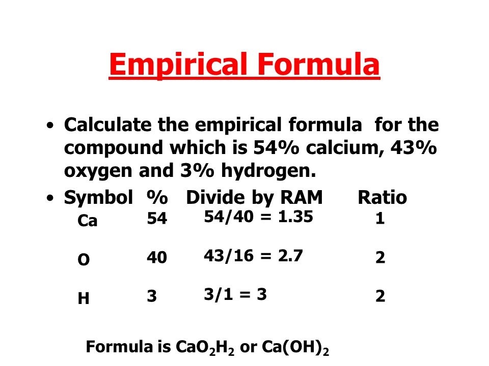 Empirical Formula Calculate the empirical formula for the compound which is 54% calcium, 43% oxygen and 3% hydrogen.