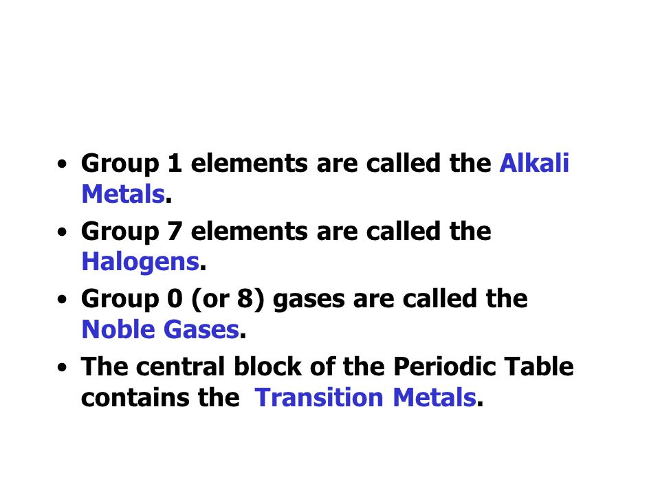 Group 1 elements are called the Alkali Metals.
