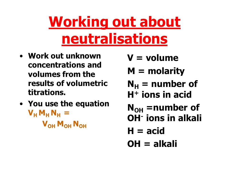 Working out about neutralisations