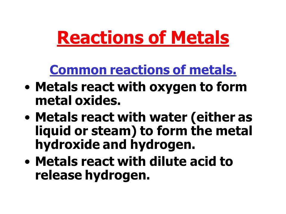 Common reactions of metals.