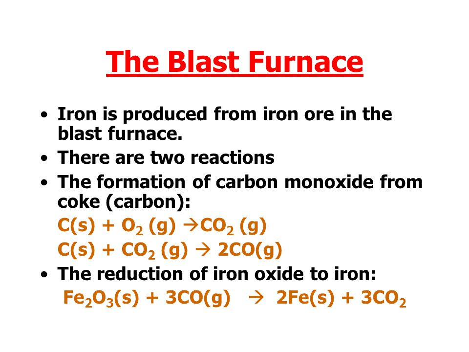 The Blast Furnace Iron is produced from iron ore in the blast furnace.