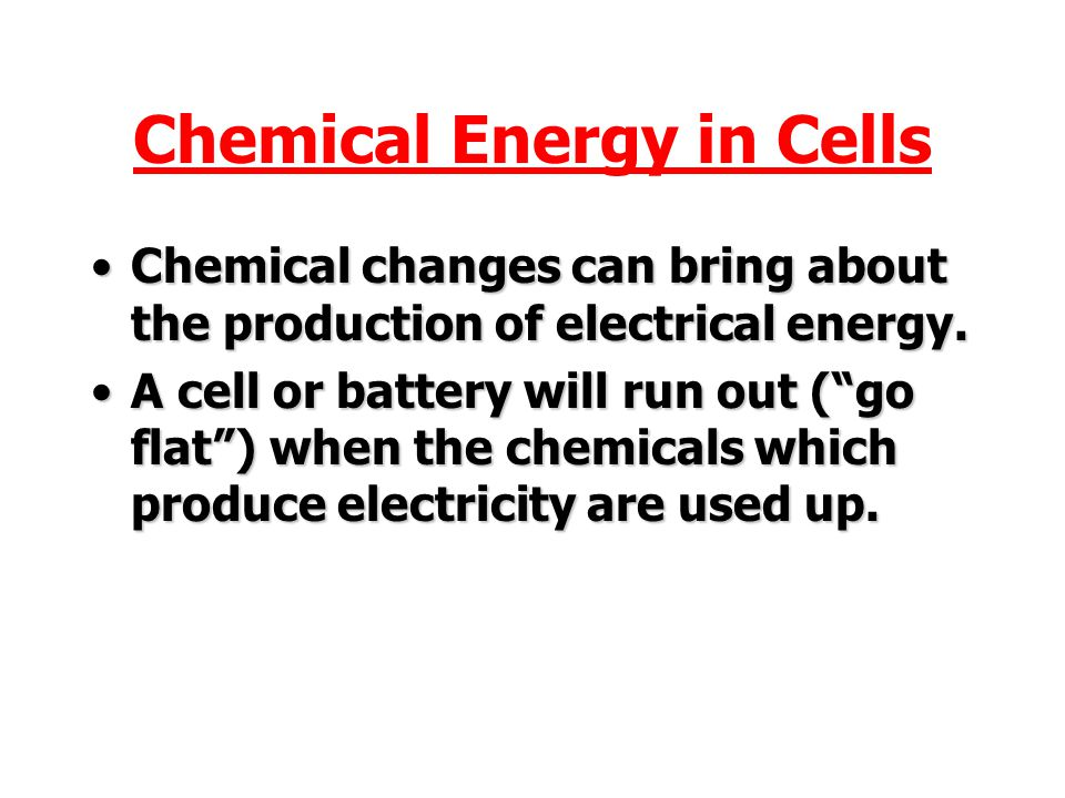 Chemical Energy in Cells