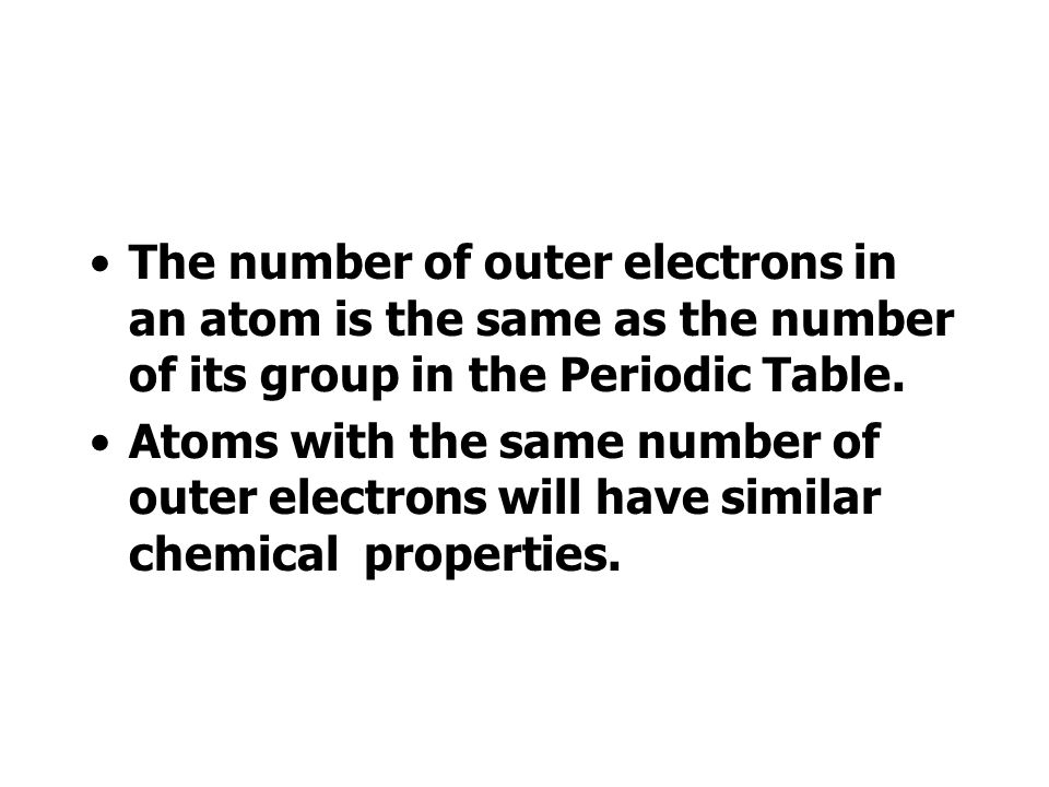 The number of outer electrons in an atom is the same as the number of its group in the Periodic Table.