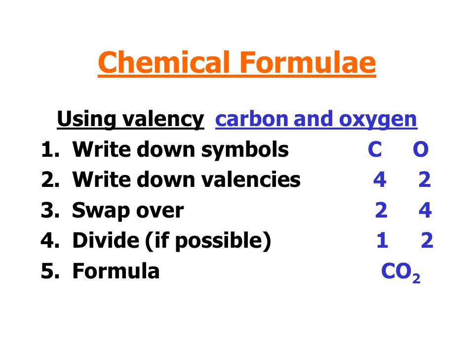 Using valency carbon and oxygen