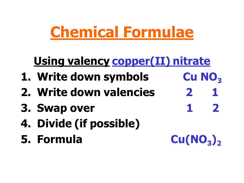 Using valency copper(II) nitrate