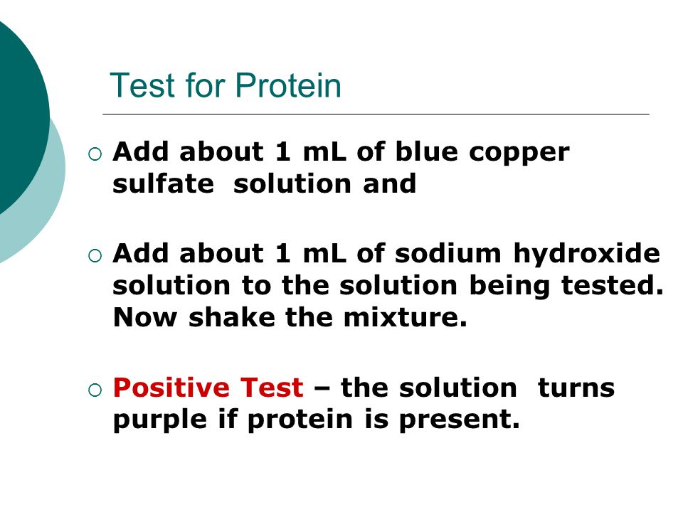 Test for Protein Add about 1 mL of blue copper sulfate solution and