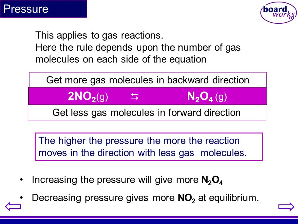 Pressure 2NO2(g)  N2O4 (g) This applies to gas reactions.