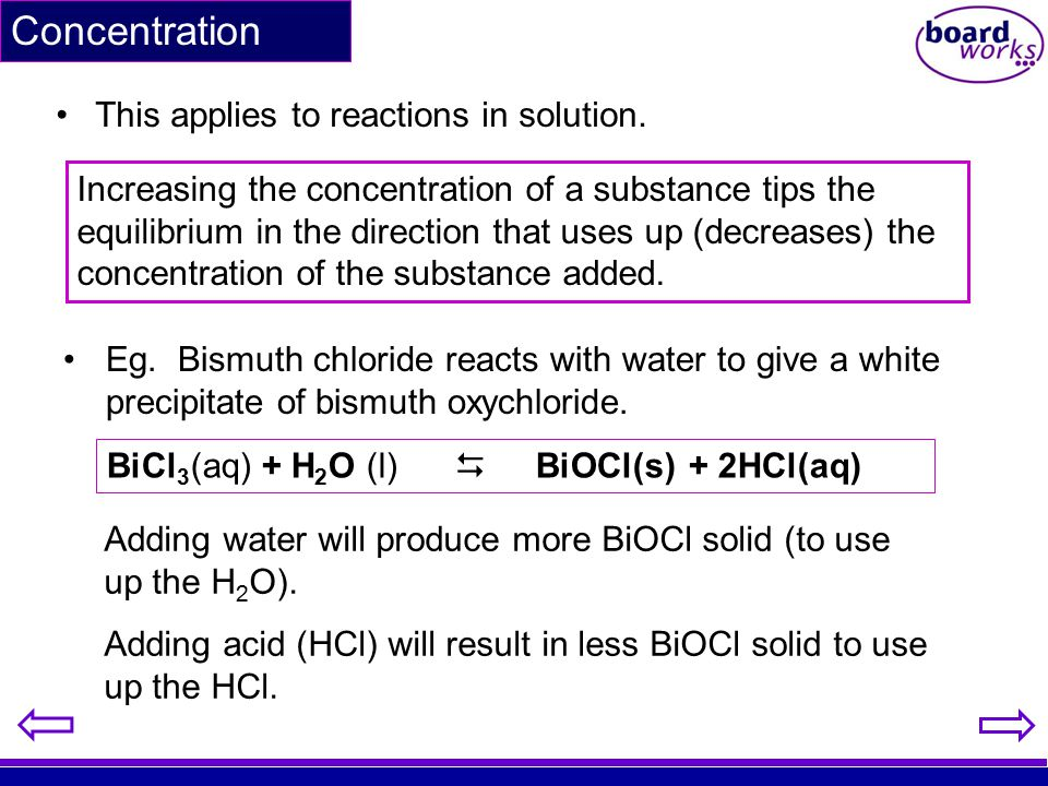 Concentration This applies to reactions in solution.