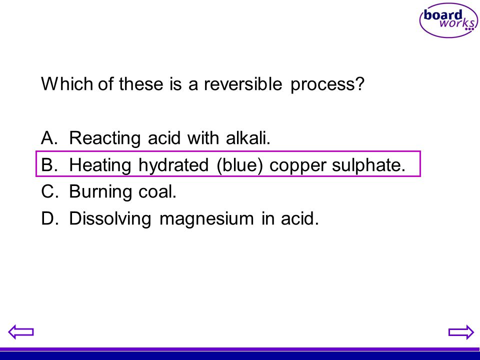 Which of these is a reversible process