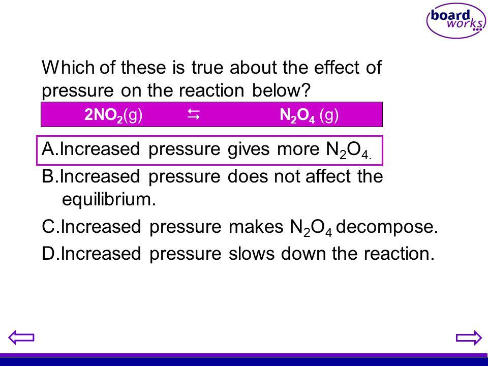 Increased pressure gives more N2O4.