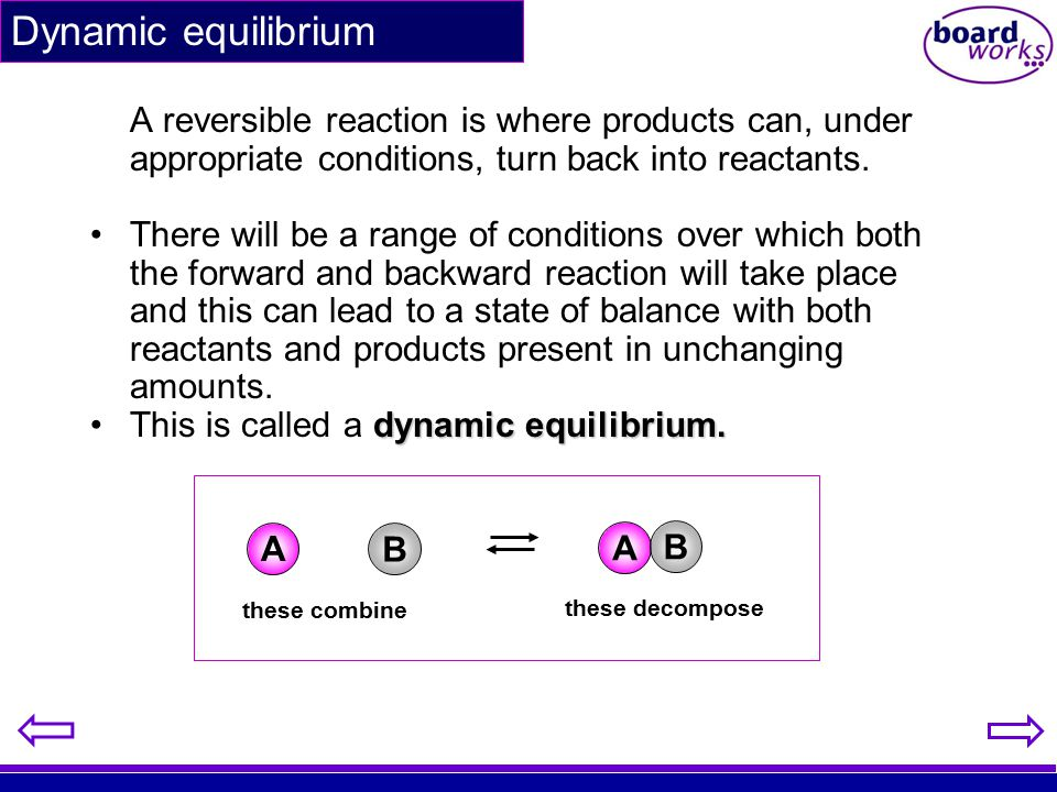 Dynamic equilibrium A reversible reaction is where products can, under appropriate conditions, turn back into reactants.