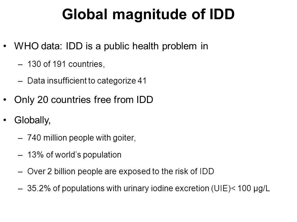 Global magnitude of IDD
