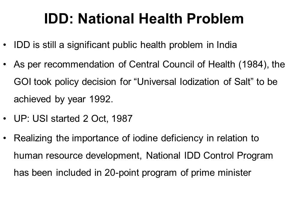 IDD: National Health Problem