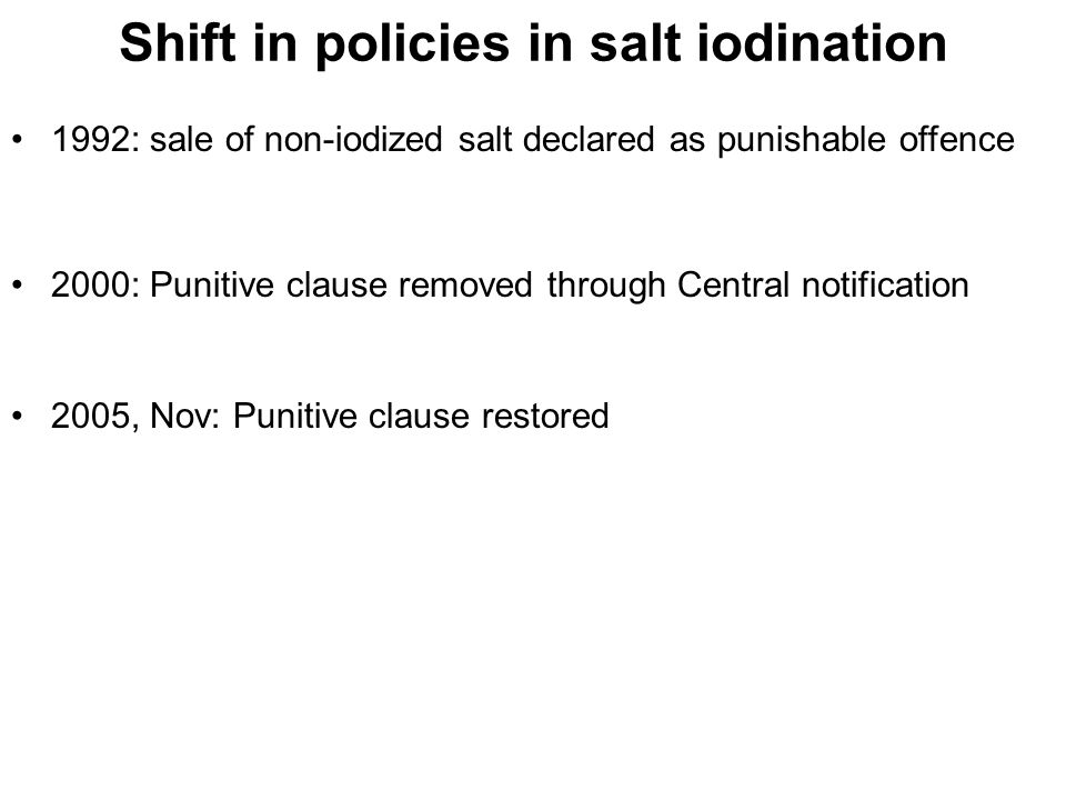 Shift in policies in salt iodination