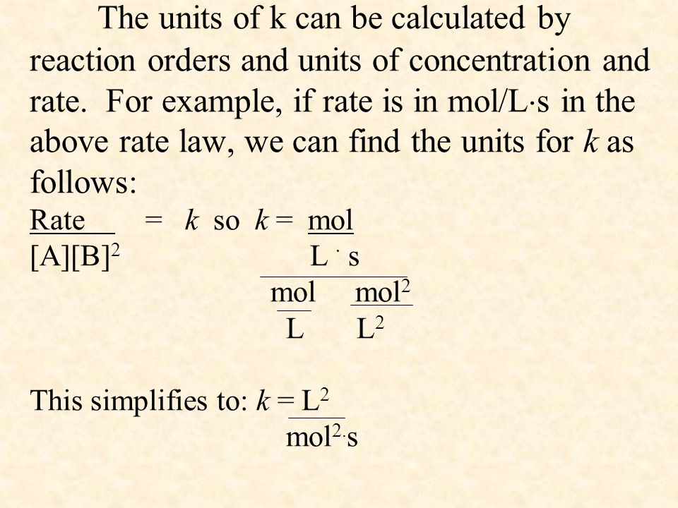 The units of k can be calculated by reaction orders and units of concentration and rate.
