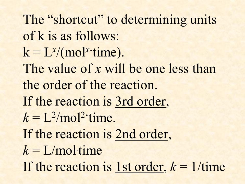 The shortcut to determining units of k is as follows: k = Lx/(molx