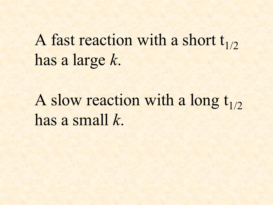 A fast reaction with a short t1/2 has a large k