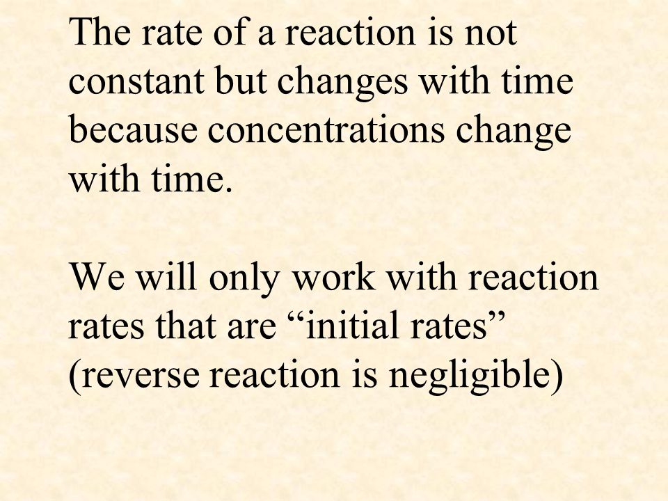 The rate of a reaction is not constant but changes with time because concentrations change with time.