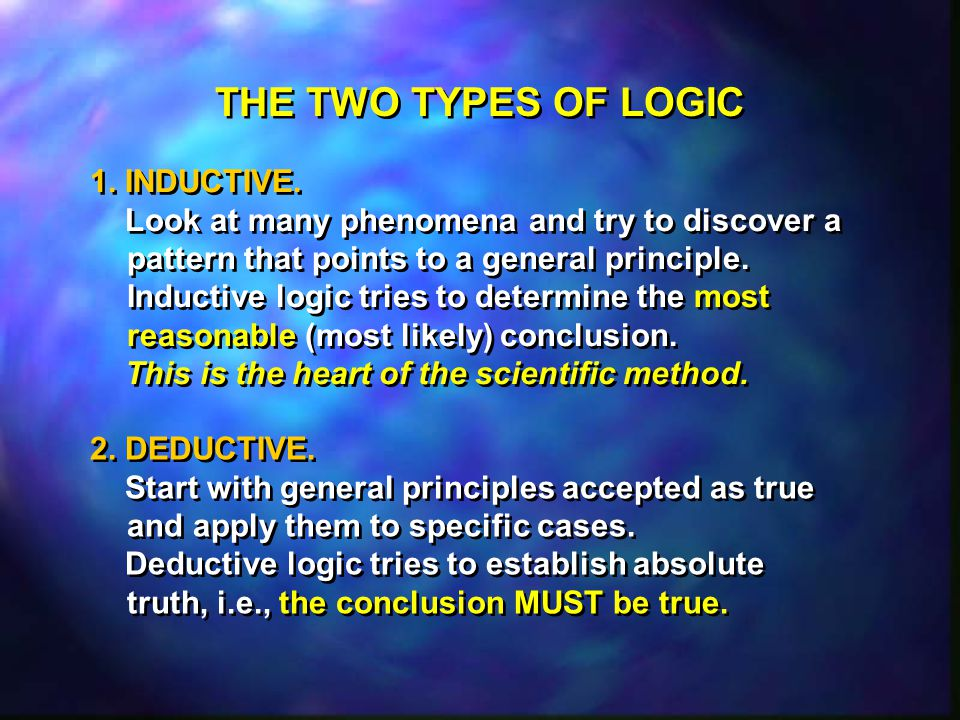 THE TWO TYPES OF LOGIC 1. INDUCTIVE.