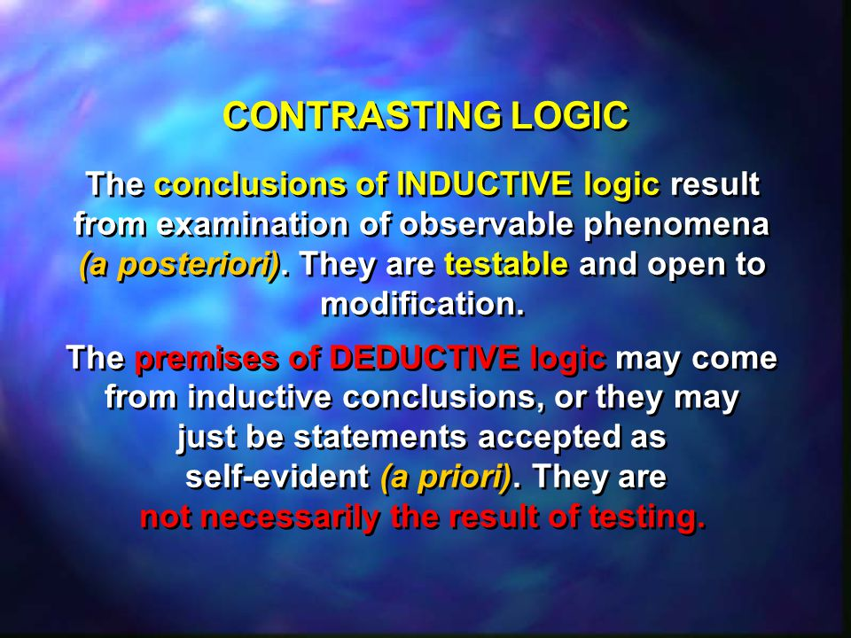 CONTRASTING LOGIC The conclusions of INDUCTIVE logic result