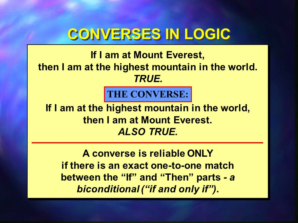 CONVERSES IN LOGIC If I am at Mount Everest,