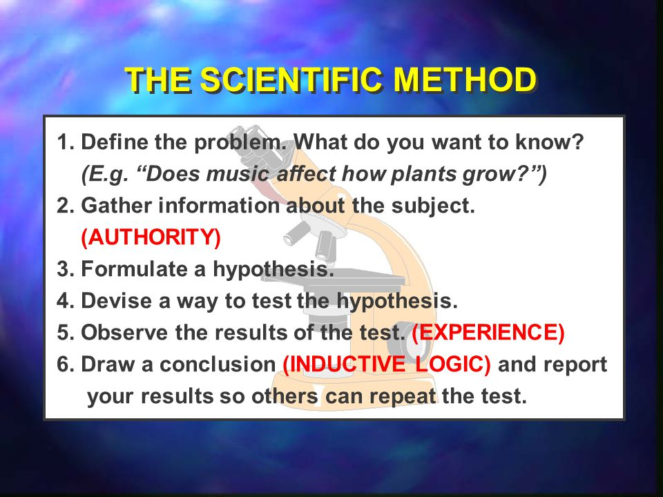 THE SCIENTIFIC METHOD 1. Define the problem. What do you want to know