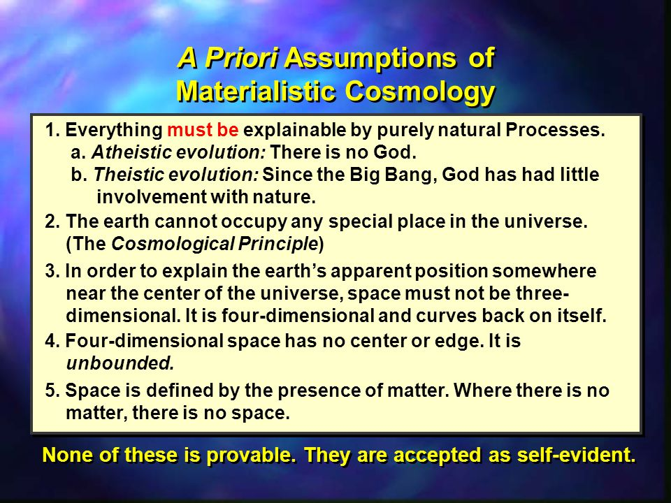 A Priori Assumptions of Materialistic Cosmology