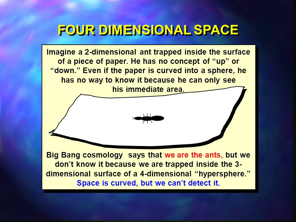 FOUR DIMENSIONAL SPACE Space is curved, but we can't detect it.