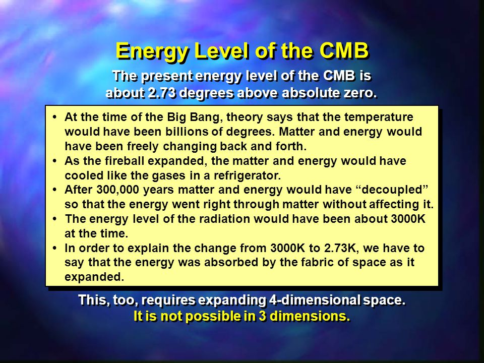 Energy Level of the CMB The present energy level of the CMB is