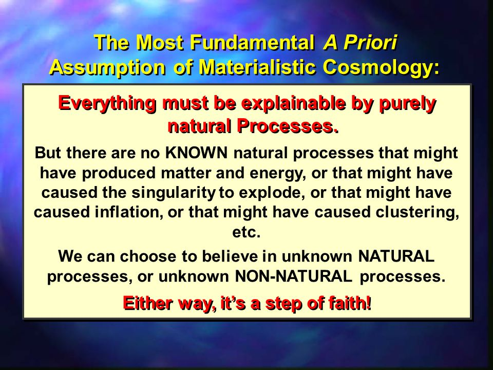 The Most Fundamental A Priori Assumption of Materialistic Cosmology: