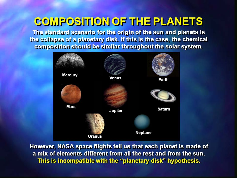 COMPOSITION OF THE PLANETS