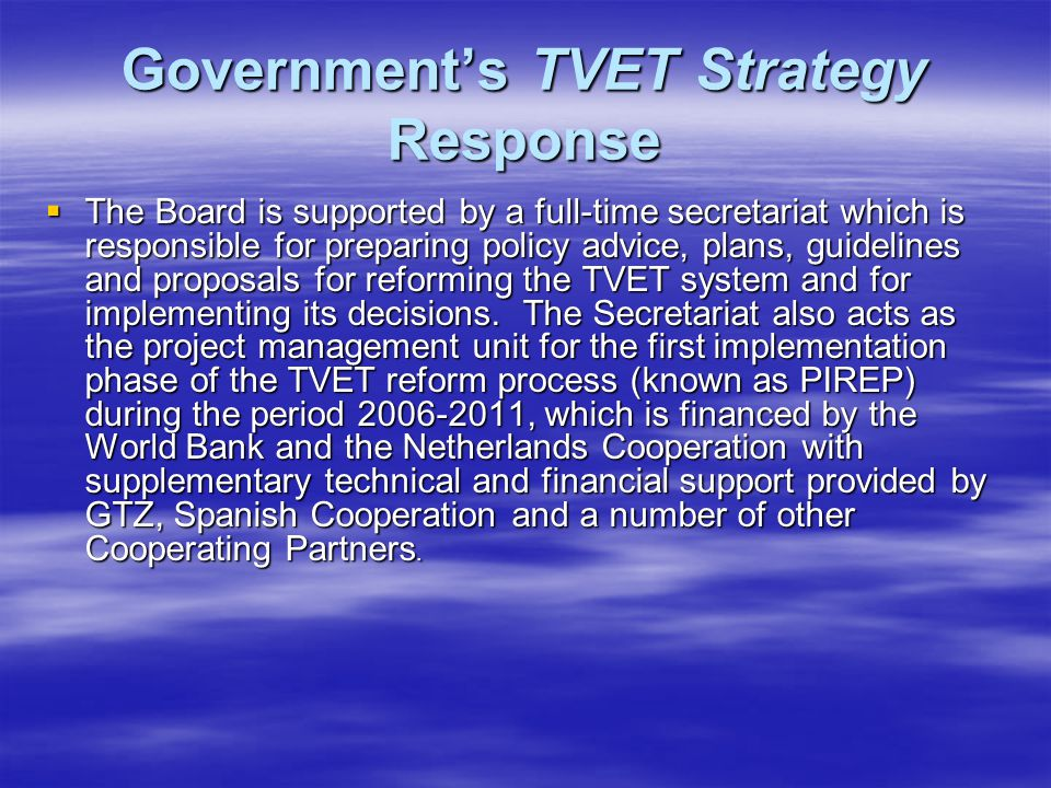 Government's TVET Strategy Response