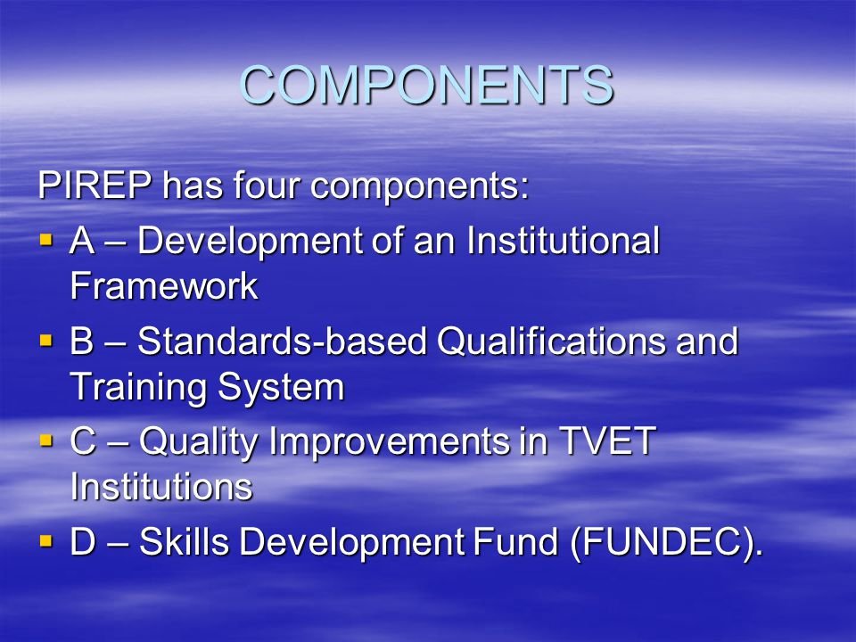 COMPONENTS PIREP has four components: