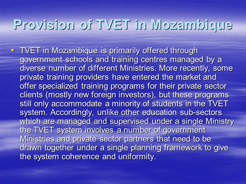 Provision of TVET in Mozambique