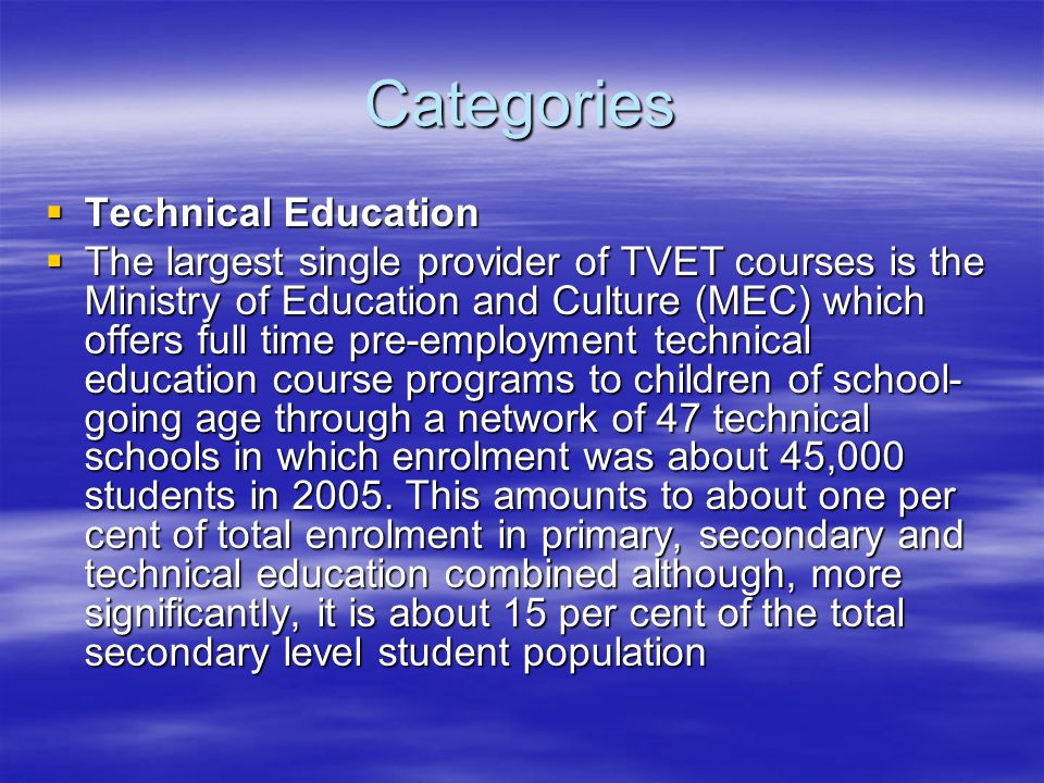 Categories Technical Education
