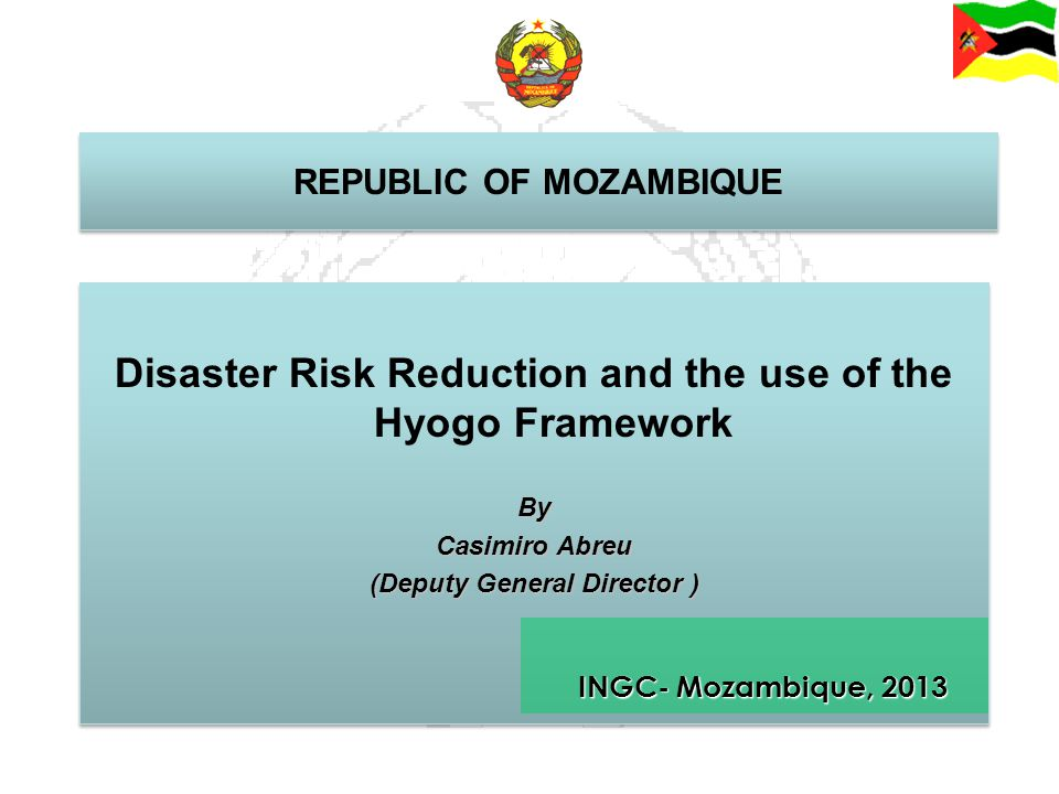 Disaster Risk Reduction and the use of the Hyogo Framework
