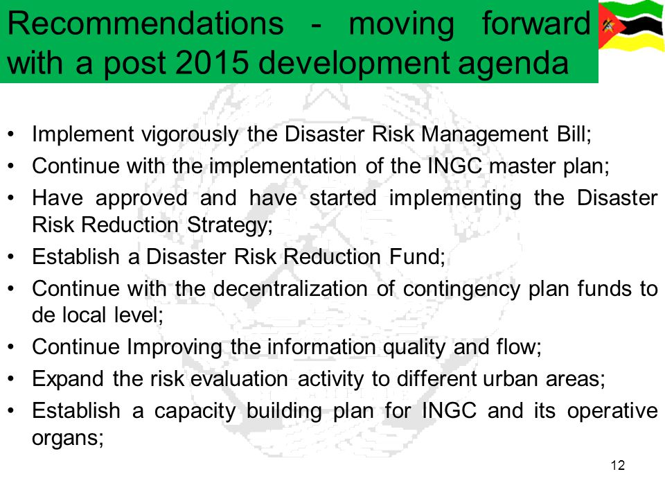 Recommendations - moving forward with a post 2015 development agenda